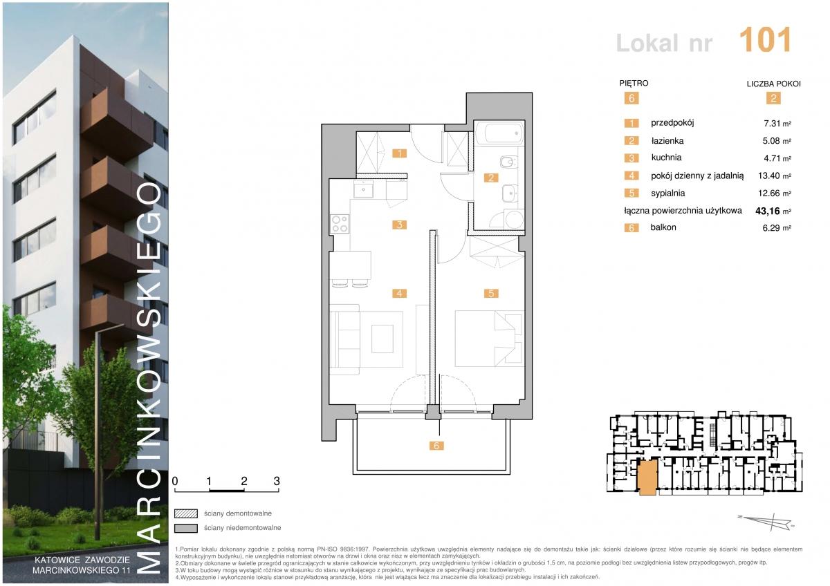 Mieszkanie 101 - 43,16 m2