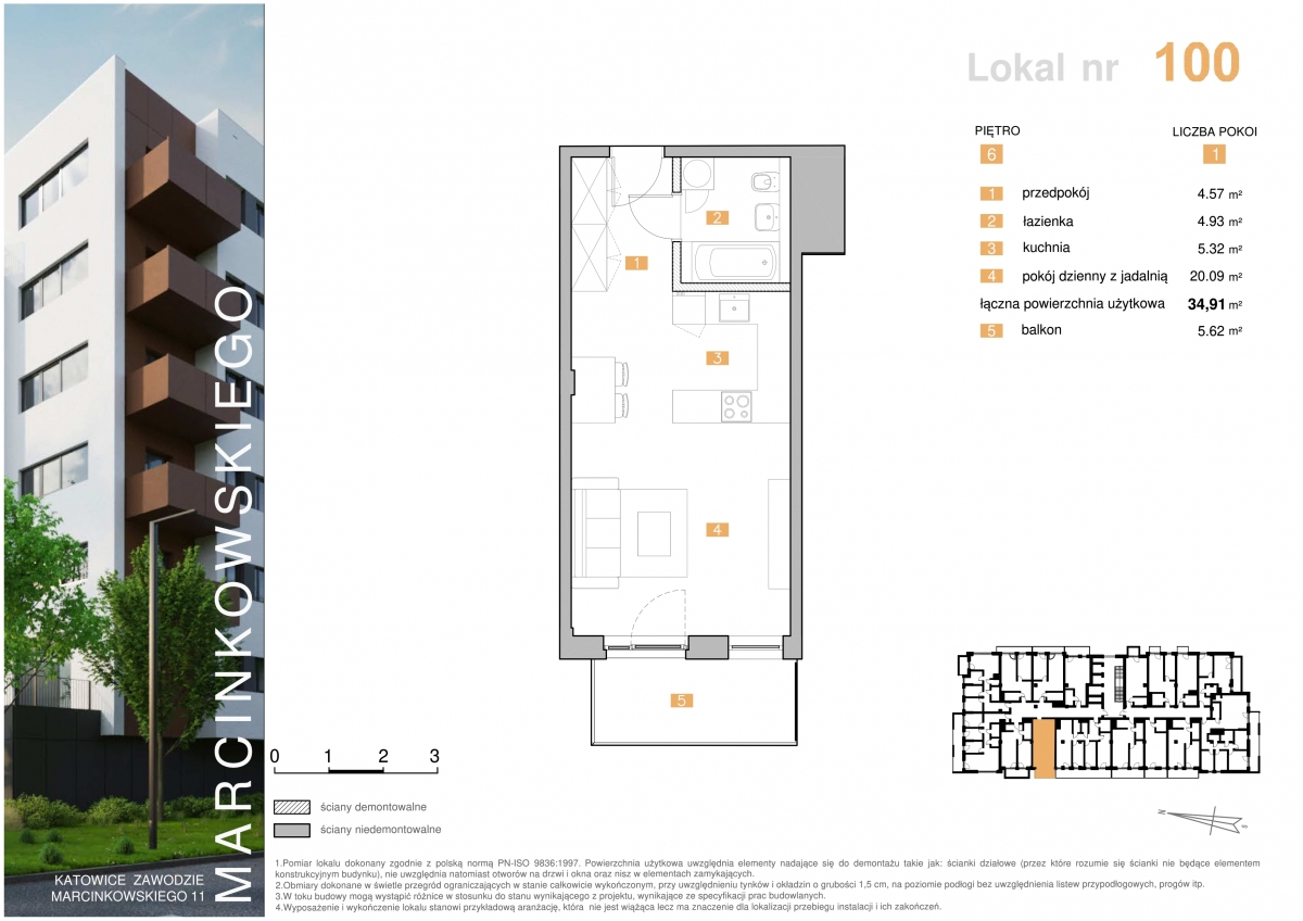 Mieszkanie 100 - 34,91 m2