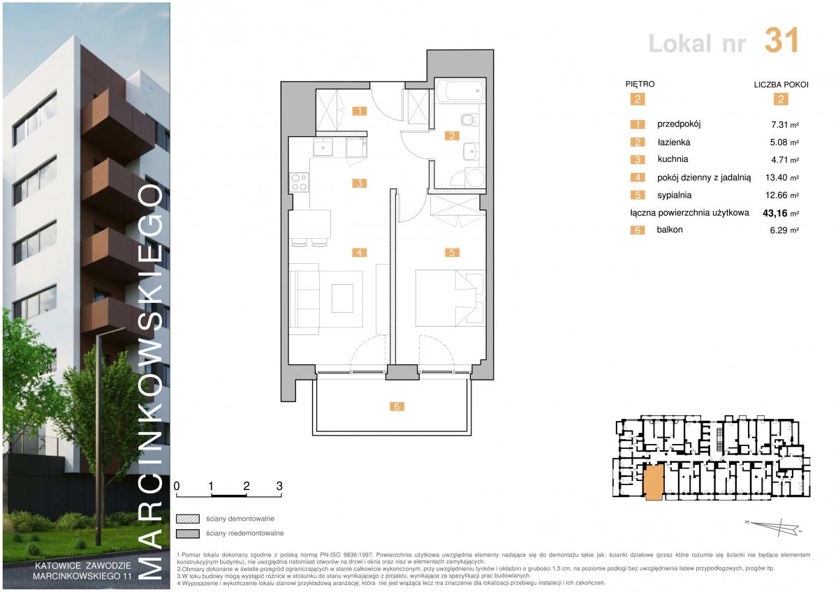 Mieszkanie 031 - 43,16 m2